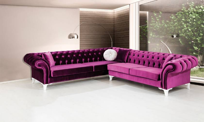 Purple Velvet Chesterfield Sofa Sectionla L shaped velvet purple