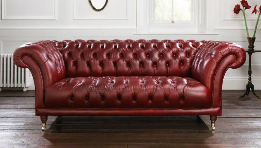 Red leather chesterfield sofa King Style Luxury