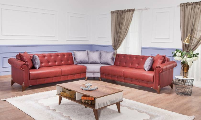 Red leather chesterfield sofa L Shaped Luxury Living Room