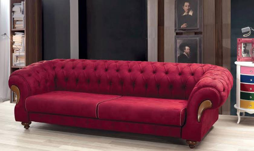 Red leather chesterfield sofa Luxury New Design