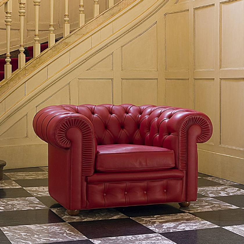 Red leather chesterfield sofa Red Chesterfield Armchair