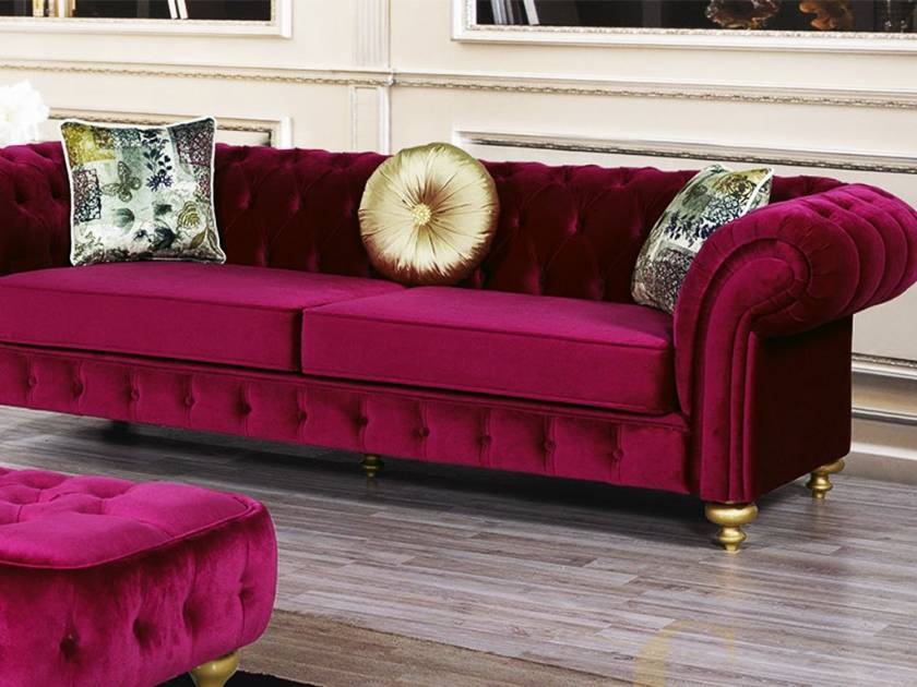 Red velvet chesterfield Sofa Couch Loveseat