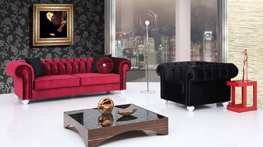 Red velvet chesterfield sofa Luxury red velvet chesterfield sofas