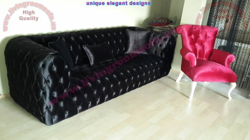 Red velvet unique chair and black quilted couch design Elegant Interior Design