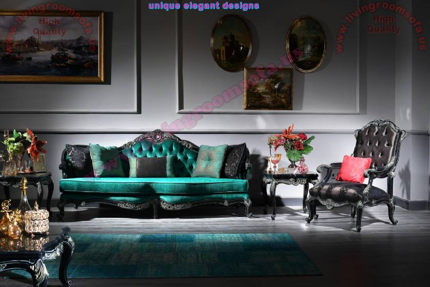 Regina luxurious 3 seats classic sofa green couch and armchair