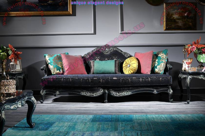 Regina luxurious Classic Sofa 3 seats black