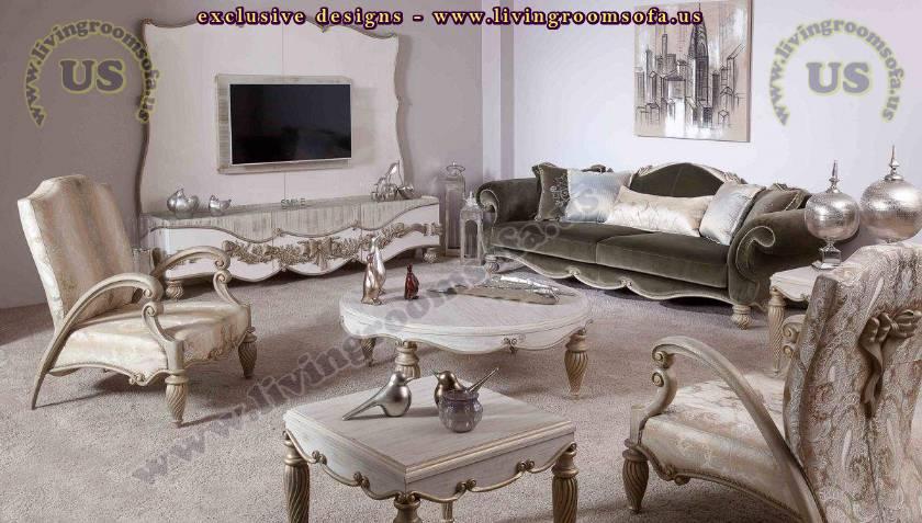 retro living room architectural sofa set and wall unit design