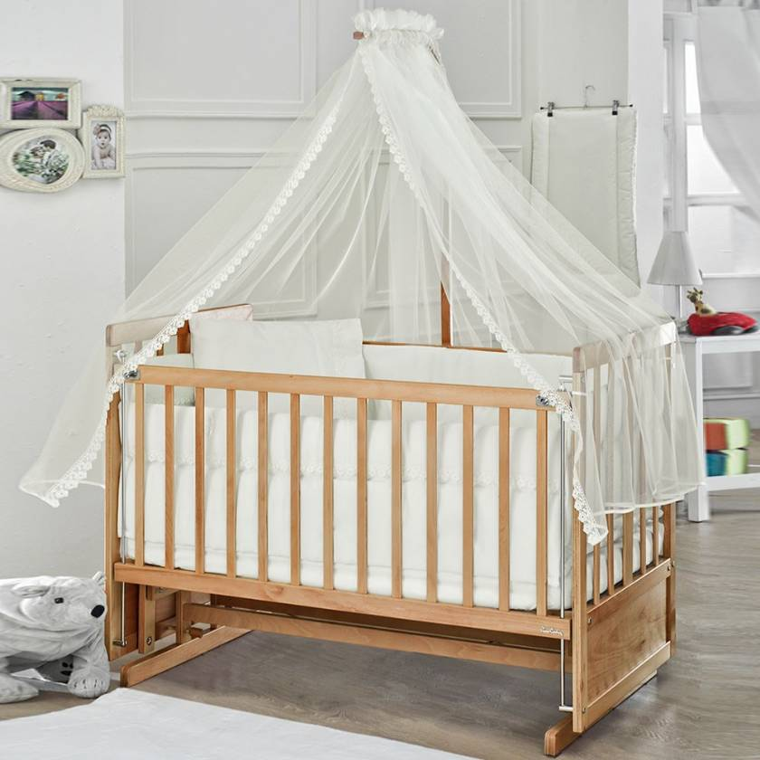 Rocking baby Crib Saplings Glider Lockable Cradle solid wood Furniture