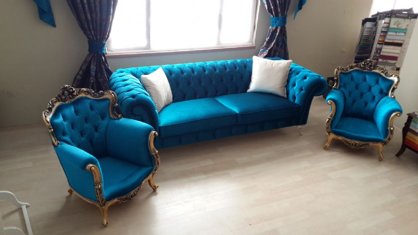 Royal Living Room Blue Velvet Sofa set gold leaf carved