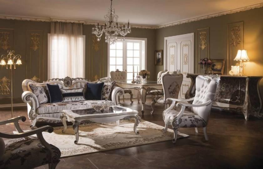 Royal Luxury Platinum Fabric Living Room Sofa Set Carved Wood Frame