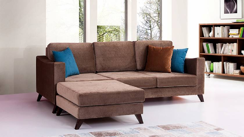 Sienna Velvet Modern L Shaped Corner Sofa for Small Spaces