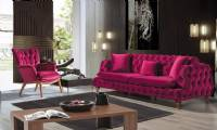 Alexandria Luxury red velvet chesterfield sofa with armchair