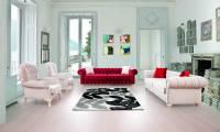 Arlington Luxury velvet chesterfield sofa set red and white