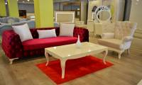 Arlington Red and white velvet chesterfield sofa couch and armchair