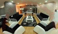 black fabric white leather modern living room sofa set