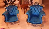 Blue velvet chairs elegant grandfather chair design
