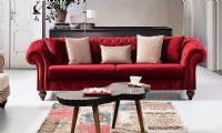 Cambridge Luxury red velvet chesterfield sofa