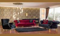 Chicago Red and Black velvet chesterfield sofa set Luxury New Style