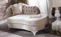Curved chaise lounge for bedroom quilted beige velvet