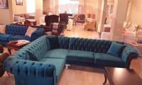 Dark Blue Chesterfield Corner Sofa