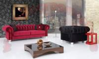 elegant chesterfield sofa set cherry and black velvet