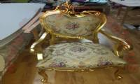 Elegant traditional chair design Wooden carved gold leaf luxury chair