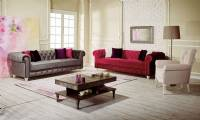 Fort Lauderdale velvet chesterfield sofa set gray red and white