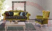 green yellow velvet sofa set retro living room