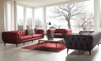 high end leather luxury sofa set sliced quilted designs red and gray