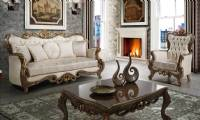 Luxurious Traditional LivingRoom Furniture Sofa Set Exposed Wood Platinum Finish