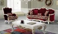 luxury and elegant classic living room sofa red velvet carved