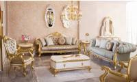 Luxury Formal Living Room Sofa Carved Gold Finish Artistically carved cabriole legs