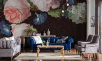Luxury leather sofa set blue and beige leather living room designs