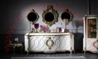 Luxury Living Room Console with 3 Wall Mirrors Royal Art Deco Design