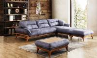 Luxury Modern bonded leather sectional sofa small space configurable couch new style
