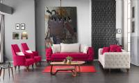 Luxury velvet chesterfield sofa set red and white new style