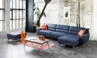 Modern Corner Sofa Blue with pouf and coffee table small size