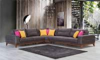 Modern farge leather fabric V Shape sectional sofa luxury elegance