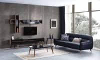 New designs modern TV unit black leather sofa and coffee table