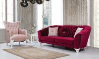 Philadelphia Luxury red velvet chesterfield sofa with armchair