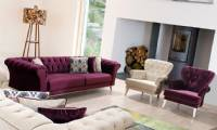 Purple velvet sofa set Purple and White velvet
