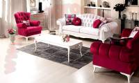 Red and White Luxury living room sofa design