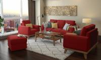 red modern living room sofa sets with coffee table and pouf