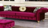 Red velvet chesterfield Sofa Couch Loveseat