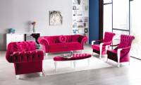 Red velvet chesterfield sofa set Luxury living room