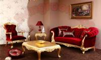 Red Velvet Traditional sofa design gorgeous living room