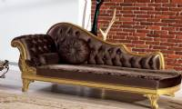 Royal chaise lounge for bedroom classic style dark colors