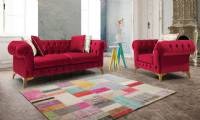 Sleeping Beauty Red velvet chesterfield sofa loveseat with armchair