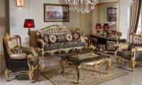 Soft Luxury Victorian Print Sofa Loveseat Set Living Room Set