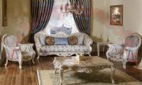 Vintage classical living room sofa set with marble coffe table